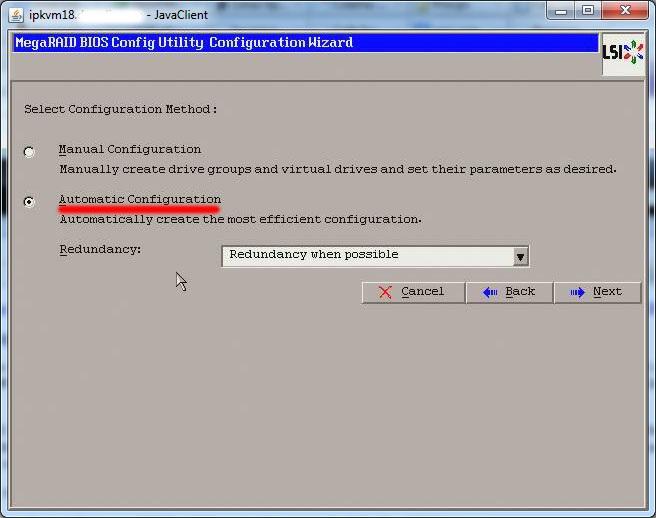 Конфигурация RAID LSI (с помощью собственного интерфейса